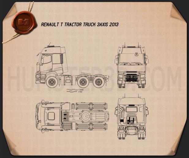 Renault T Tractor Truck 2013 Blueprint
