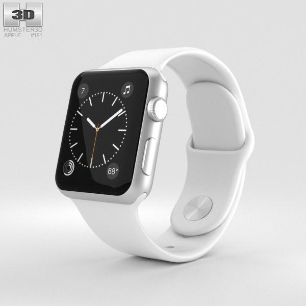 timeless design e8747 def16 Apple Watch Series 2 38mm Silver Aluminum Case White Sport Band 3D model