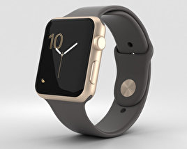Apple Watch Series 2 42mm Gold Aluminum Case Cocoa Sport Band 3D model