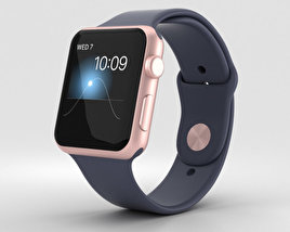 Apple Watch Series 2 42mm Rose Gold Aluminum Case Midnight Blue Sport Band 3D model