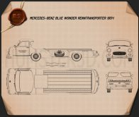 Mercedes-Benz Blue Wonder Renntransporter 1954 Blueprint