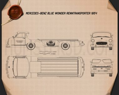 Mercedes-Benz Blue Wonder Renntransporter 1954 Blueprint