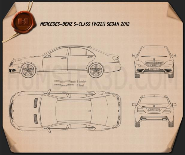 Mercedes-Benz S-Class (W221) 2012 Blueprint