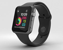 Apple Watch Series 2 42mm Space Gray Aluminum Case Black Sport Band 3D model