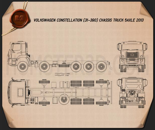 Volkswagen Constellation Chassis Truck 2013 Blueprint