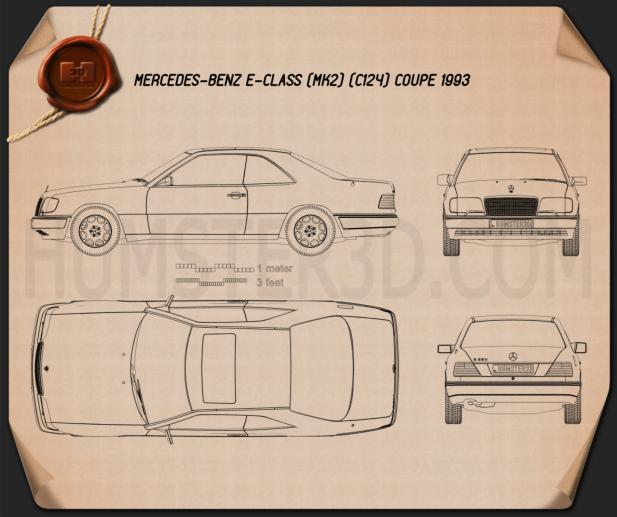 Mercedes-Benz E-class coupe 1993 Blueprint