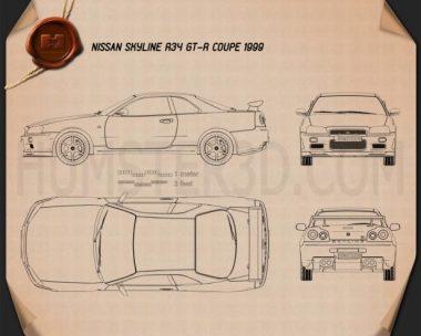 Nissan Skyline R34 GT-R coupe 1999 Blueprint