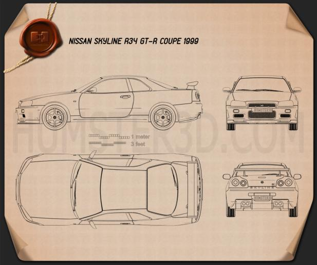 Nissan Skyline R34 GT-R coupe 1999 Blueprint