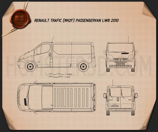 Renault Trafic Passenger Van LWB 2010 Blueprint