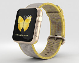 Apple Watch Series 2 38mm Gold Aluminum Case Yellow Light Gray Woven Nylon 3D model