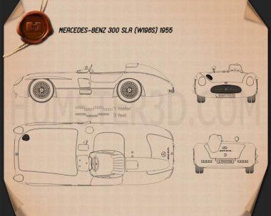 Mercedes-Benz 300 SLR 1955 Blueprint