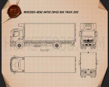 Mercedes-Benz Antos Box Truck 2012 Blueprint