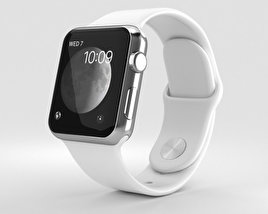 Apple Watch Series 2 38mm Stainless Steel Case White Sport Band 3D model