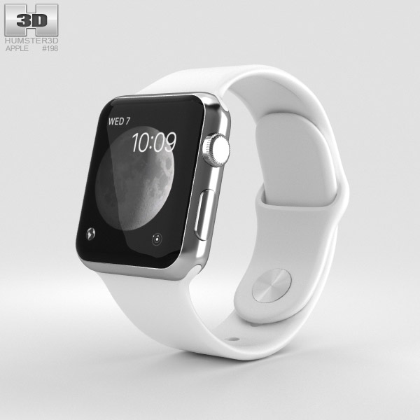 Discount Car Parts >> Apple Watch Series 2 38mm Stainless Steel Case White Sport Band 3D model - Hum3D