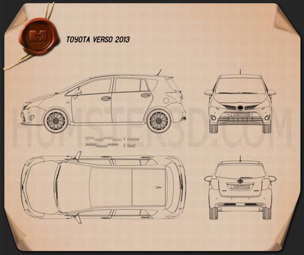 Toyota Verso (E'Z) 2013 Blueprint