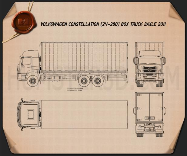 Volkswagen Constellation Box Truck 2011 Blueprint