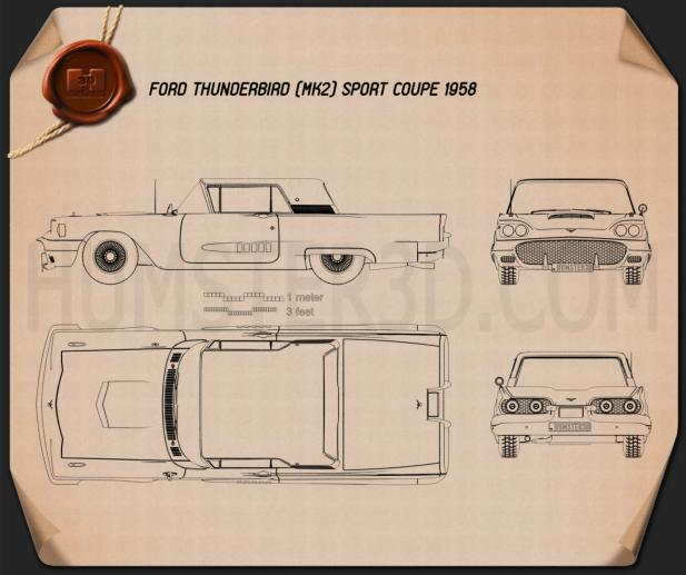 Ford Thunderbird Sport Coupe 1958 Blueprint