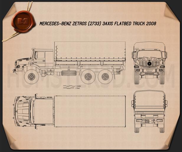Mercedes-Benz Zetros Flatbed Truck 3-axle 2008 Blueprint