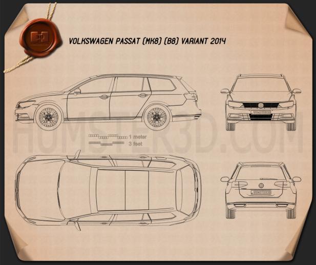 Volkswagen Passat (B8) variant 2014 Blueprint