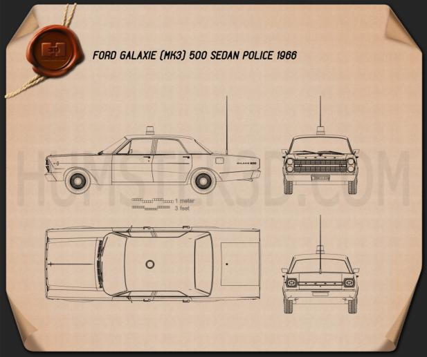 Ford galaxie 500 police 1966 blueprint hum3d ford galaxie 500 police 1966 blueprint malvernweather Image collections