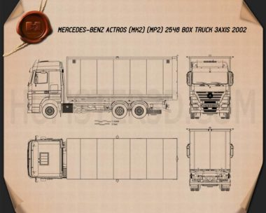 Mercedes-Benz Actros Box Truck 2002 Blueprint