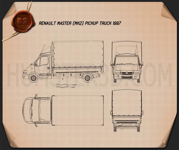 Renault Master Pickup 1997 Blueprint