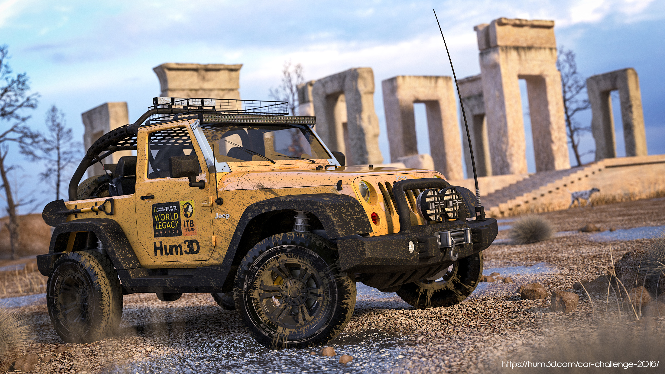 Jeep Wrangler Rubicon in Persepolis 3d art