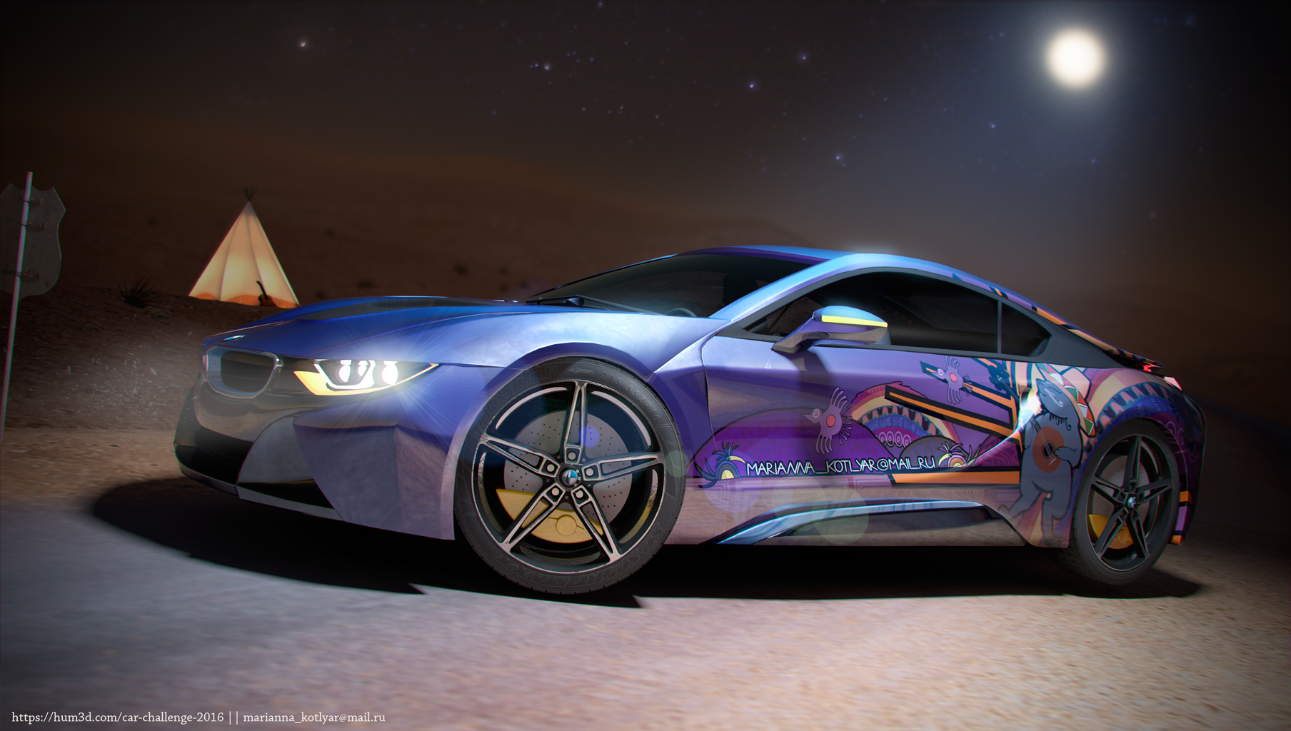 Moonlight desert BMW i8 3d art