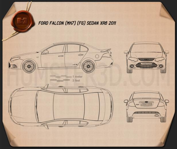 Ford FG Falcon XR6 sedan 2011 Blueprint