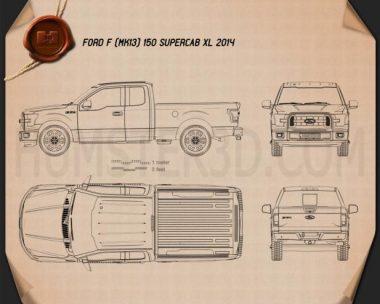 Ford F-150 Super Cab XLT 2014 Blueprint