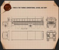 Ford B-700 Thomas Conventional School Bus 1984 Blueprint