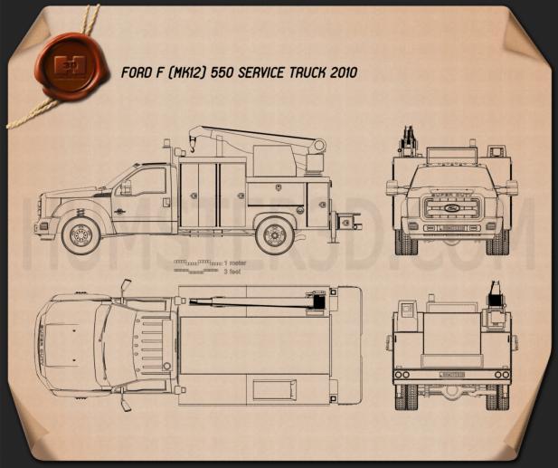 Ford F-550 Service Truck 2010 Blueprint