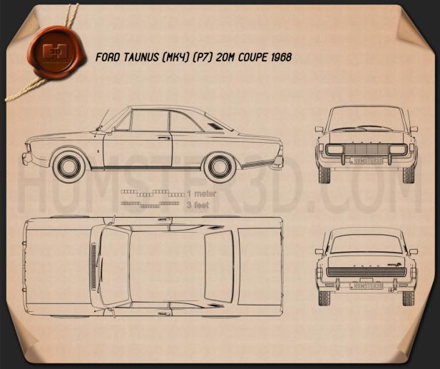 Ford Taunus (P7) 20M Coupe 1968 Blueprint