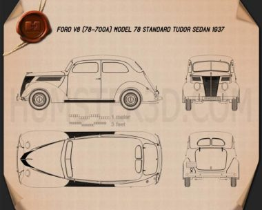 Ford V8 Model 78 Standard (78-700A) Tudor Sedan 1937 Blueprint