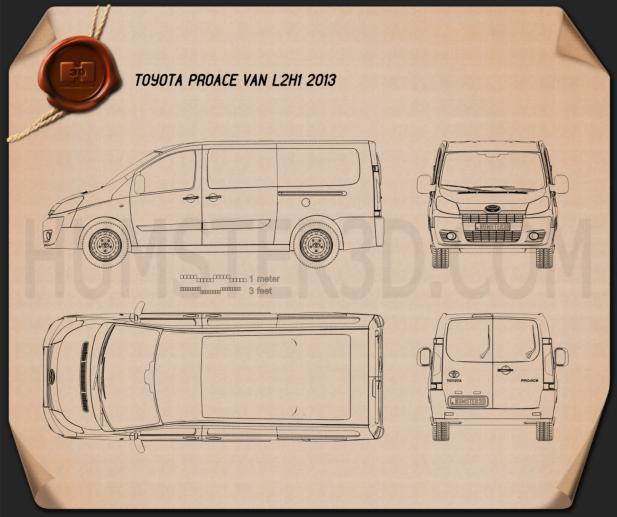 Toyota ProAce Van L2H1 2012 Blueprint