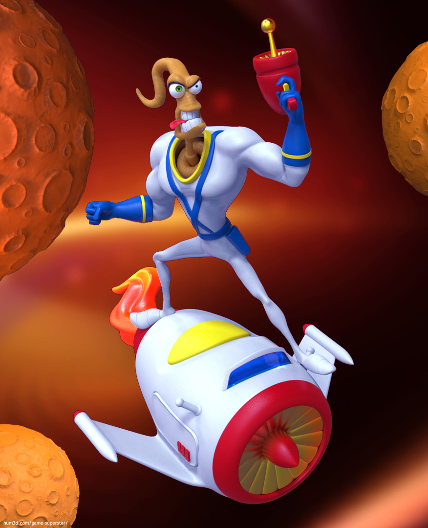 Earthworm Jim 3d art
