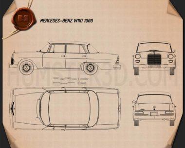 Mercedes-Benz W110 1966 Blueprint