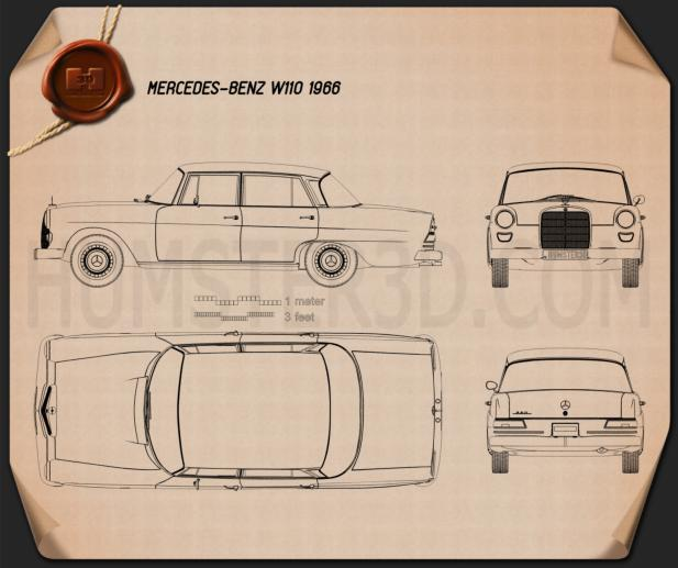 Mercedes-Benz W110 1966 Blueprint