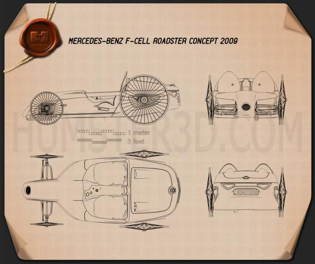 Mercedes-Benz F-Cell Roadster 2009 Blueprint