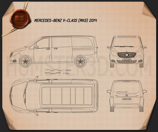 Mercedes-Benz V-Class 2014 Blueprint