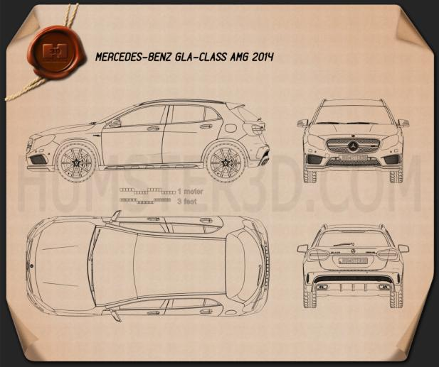 Mercedes-Benz GLA-Class 45 AMG 2014 Blueprint