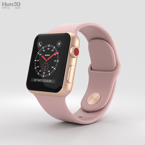 6bad451ab0b Apple Watch Series 3 38mm GPS + Cellular Gold Aluminum Case Pink Sand Sport  Band 3d ...