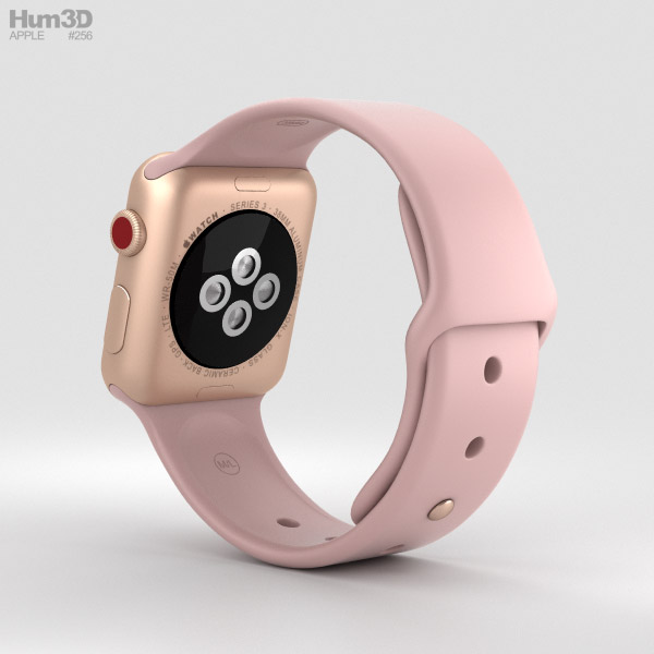 100% authentic 367bc e2500 Apple Watch Series 3 38mm GPS + Cellular Gold Aluminum Case Pink Sand Sport  Band 3D model