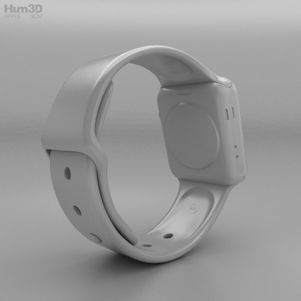 58c6d5c9972 ... Apple Watch Series 3 38mm GPS + Cellular Silver Aluminum Case Fog Sport  Band 3d model