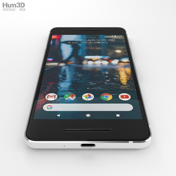 Google Pixel 2 Clearly White 3d Model Hum3d