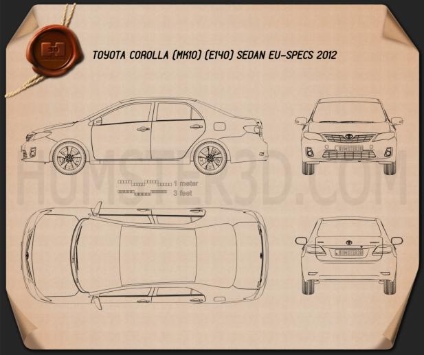 Toyota Corolla (E140) sedan EU 2012 Blueprint