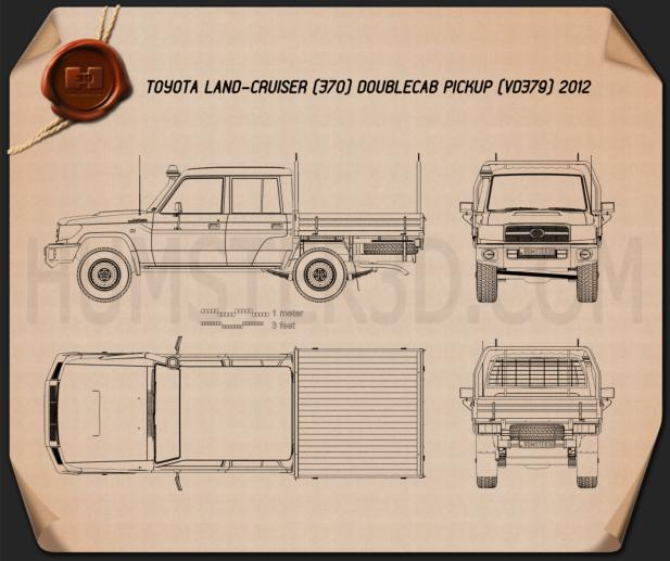 Toyota Land Cruiser (J70) Double Cab Pickup 2012 Blueprint