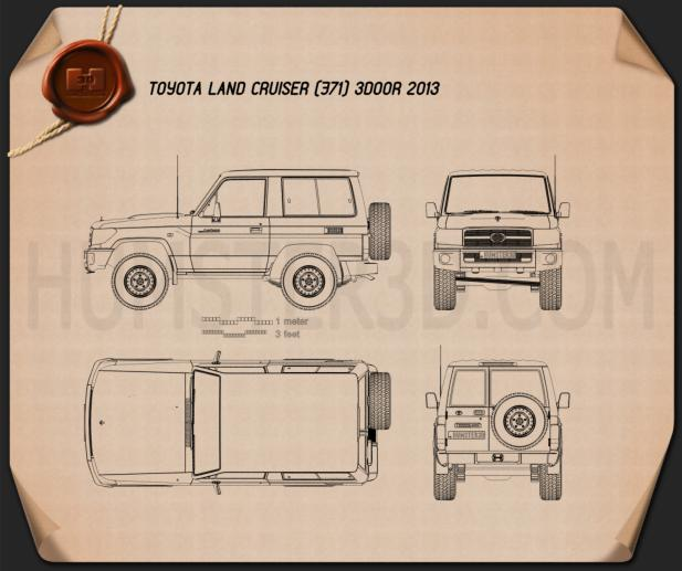 Toyota Land Cruiser (J71) 3-door 2013 Blueprint