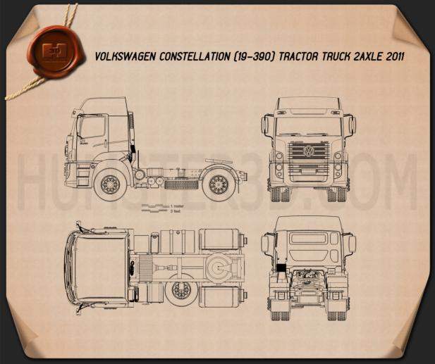 Volkswagen Constellation (19-390) Tractor Truck 2-axle 2011 Blueprint