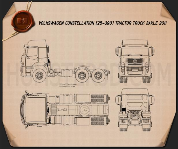 Volkswagen Constellation (25-390) Tractor Truck 3-axle 2011 Blueprint